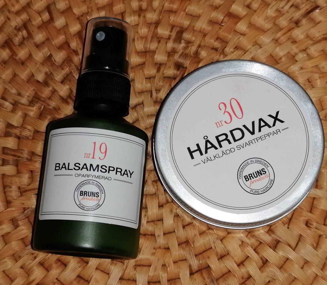 Balsamspray och Hårvax från Bruns Products